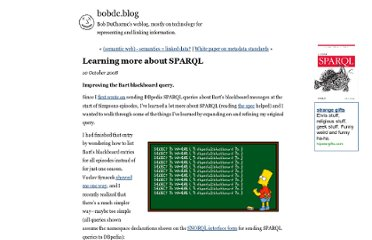 http://www.snee.com/bobdc.blog/2008/10/learning-more-about-sparql.html