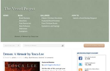 http://vesselproject.com/2011/04/08/demon-a-memoir-by-tosca-lee/