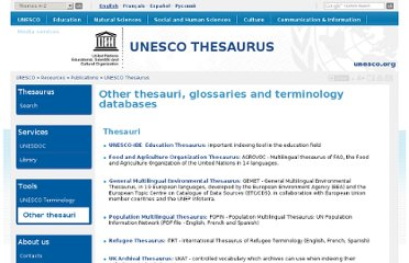 http://databases.unesco.org/thesaurus/other.html