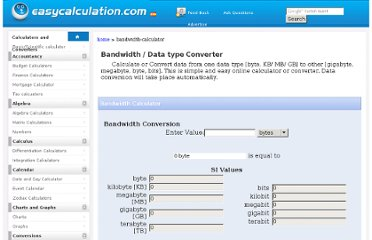 http://www.easycalculation.com/bandwidth-calculator.php