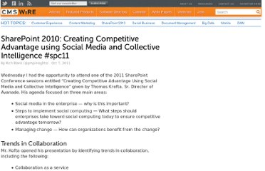 http://www.cmswire.com/cms/social-business/sharepoint-2010-creating-competitive-advantage-using-social-media-and-collective-intelligence-spc11-012965.php