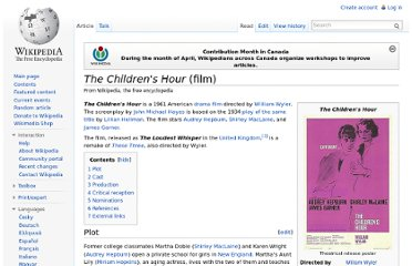 http://en.wikipedia.org/wiki/The_Children%27s_Hour_(film)