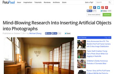 http://www.petapixel.com/2011/10/07/mind-blowing-research-into-inserting-artificial-objects-into-photographs/