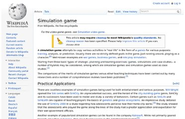 http://en.wikipedia.org/wiki/Simulation_game