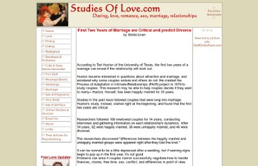 http://studiesoflove.com/marriage/firsttwoyearsdivorce.html