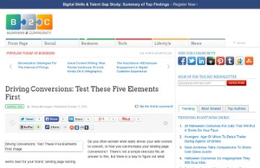 http://www.business2community.com/marketing/driving-conversions-test-these-five-elements-first-064135