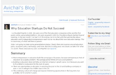 http://avichal.wordpress.com/2011/10/07/why-education-startups-do-not-succeed/