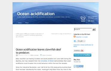 http://oceanacidification.wordpress.com/2011/05/30/ocean-acidification-leaves-clownfish-deaf-to-predators/