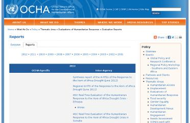 http://www.unocha.org/what-we-do/policy/thematic-areas/evaluations-of-humanitarian-response/reports