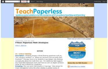 http://teachpaperless.blogspot.com/2011/06/fifteen-paperless-math-strategies.html