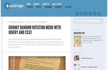 http://tympanus.net/codrops/2010/02/24/grungy-random-rotation-menu-with-jquery-and-css3/