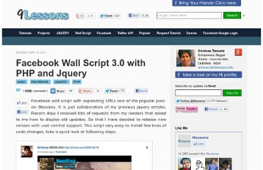 http://www.9lessons.info/2011/05/facebook-wall-script-with-php-and.html