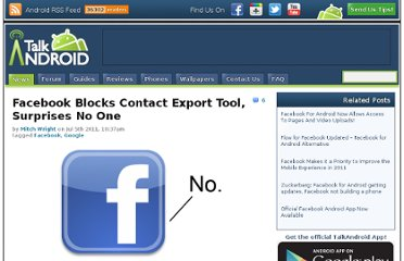 http://www.talkandroid.com/45166-facebook-blocks-contact-export-tool-surprises-no-one/