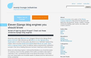 http://blog.montylounge.com/2010/02/10/eleven-django-blog-engines-you-should-know/