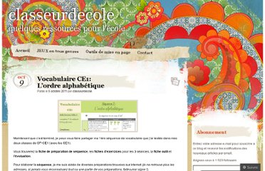 http://classeurdecole.wordpress.com/2011/10/09/vocabulaire-ce1-lordre-alphabetique/