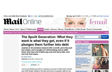 http://www.dailymail.co.uk/femail/article-2047260/The-Spoilt-Generation-What-want-plunges-debt.html