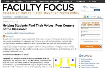 http://www.facultyfocus.com/articles/effective-teaching-strategies/helping-students-find-their-voices-four-corners-of-the-classroom/