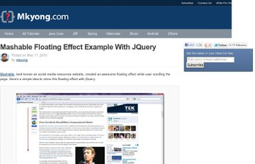 http://www.mkyong.com/jquery/mashable-floating-effect-example-with-jquery/