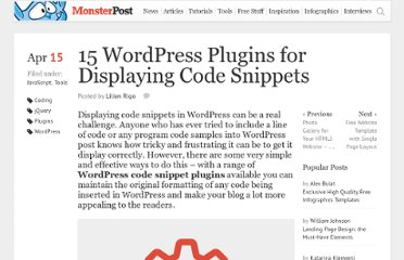 http://blog.templatemonster.com/2011/04/15/wordpress-plugins-code-snippets-displaying/
