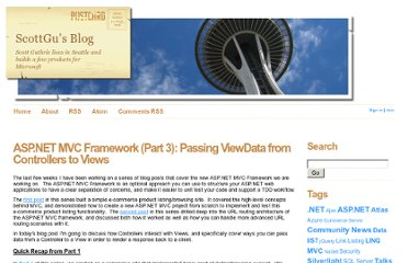 http://weblogs.asp.net/scottgu/archive/2007/12/06/asp-net-mvc-framework-part-3-passing-viewdata-from-controllers-to-views.aspx