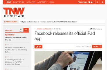 http://thenextweb.com/facebook/2011/10/10/facebook-releases-its-official-ipad-app/