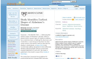 http://www.newswise.com/articles/mayo-clinic-study-identifies-earliest-stages-of-alzheimer-s-disease