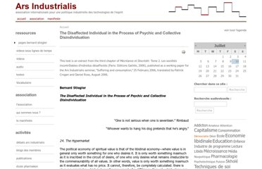 http://arsindustrialis.org/disaffected-individual-process-psychic-and-collective-disindividuation