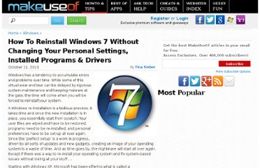 http://www.makeuseof.com/tag/reinstall-windows-7-changing-personal-settings-installed-programs-drivers/