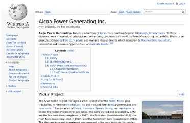 http://en.wikipedia.org/wiki/Alcoa_Power_Generating_Inc.