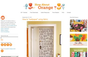 http://howaboutorange.blogspot.com/2011/09/how-to-wallpaper-using-fabric.html