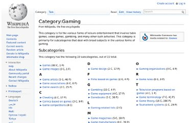 http://en.wikipedia.org/wiki/Category:Gaming