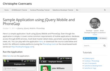 http://coenraets.org/blog/2011/10/sample-application-with-jquery-mobile-and-phonegap/