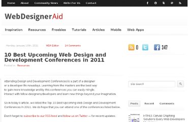 http://webdesigneraid.com/10-best-upcoming-web-design-and-development-conferences-in-2011/