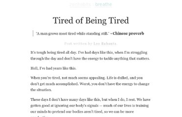 http://zenhabits.net/tired/