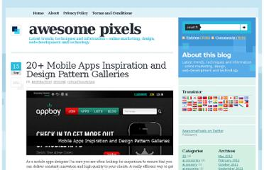 http://www.awesomepixels.com/20-mobile-apps-inspiration-and-design-pattern-galleries/