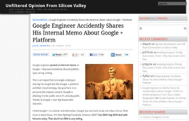 http://siliconangle.com/furrier/2011/10/12/google-engineer-accidently-shares-his-internal-memo-about-google-platform/