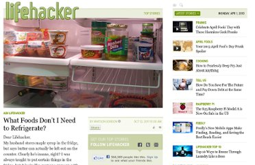 http://lifehacker.com/5849074/what-foods-dont-i-need-to-refrigerate