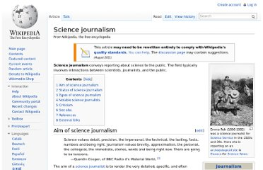 http://en.wikipedia.org/wiki/Science_journalism