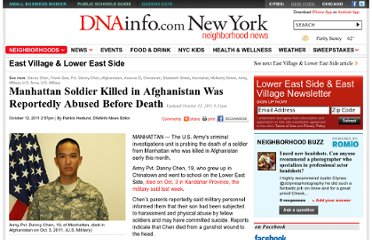 http://www.dnainfo.com/20111012/lower-east-side-east-village/manhattan-soldier-killed-afghanistan-was-reportedly-abused-before-death