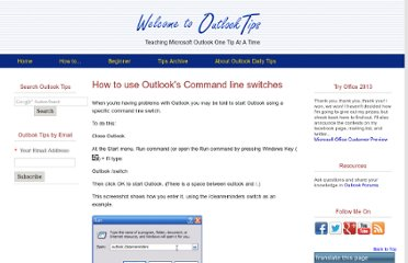 http://www.outlook-tips.net/how-to/using-outlook-command-lines/