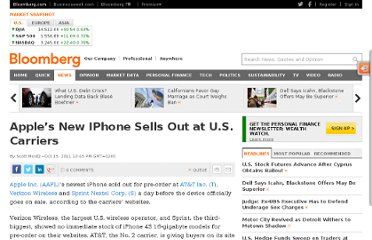 http://www.bloomberg.com/news/2011-10-13/apple-s-iphone-sells-out-at-all-three-u-s-carriers-ahead-of-store-debut.html