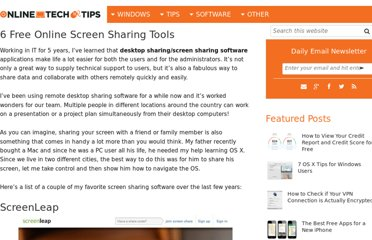 http://www.online-tech-tips.com/cool-websites/5-free-remote-desktop-sharing-and-screen-sharing-solutions/