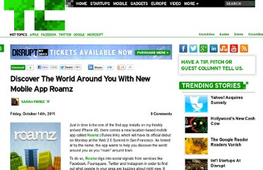 http://techcrunch.com/2011/10/14/discover-the-world-around-you-with-new-mobile-app-roamz/