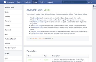 http://developers.facebook.com/docs/reference/javascript/FB.ui/