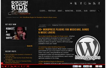 http://www.roughridecreations.com/2010/11/40-wordpress-plugins-for-musicians-bands-music-lovers/