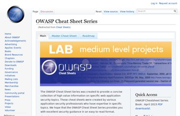 https://www.owasp.org/index.php/Cheat_Sheets
