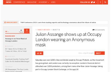 http://thenextweb.com/uk/2011/10/16/julian-assange-shows-up-at-occupy-london-wearing-an-anonymous-mask/