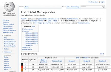 http://en.wikipedia.org/wiki/List_of_Mad_Men_episodes