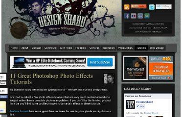 http://www.designshard.com/video-tutorials/11-great-photoshop-photo-effects-tutorials/