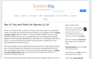 http://blog.sudobits.com/2011/10/13/top-10-tips-and-tricks-for-ubuntu-11-10/